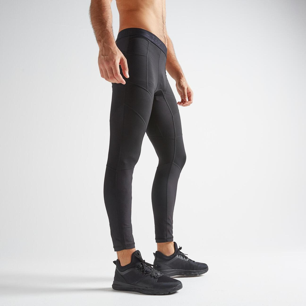 malla leggings fitness training hombre 500 negro