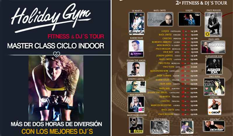 Pedaladas a todo ritmo con Holiday Gym Fitness & DJ´S Tour
