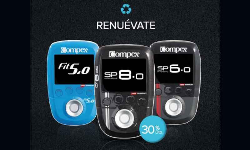 Renuévate y llévate un electroestimulador FIT 5.0, SP6.0 y un SP8.0 de Compex