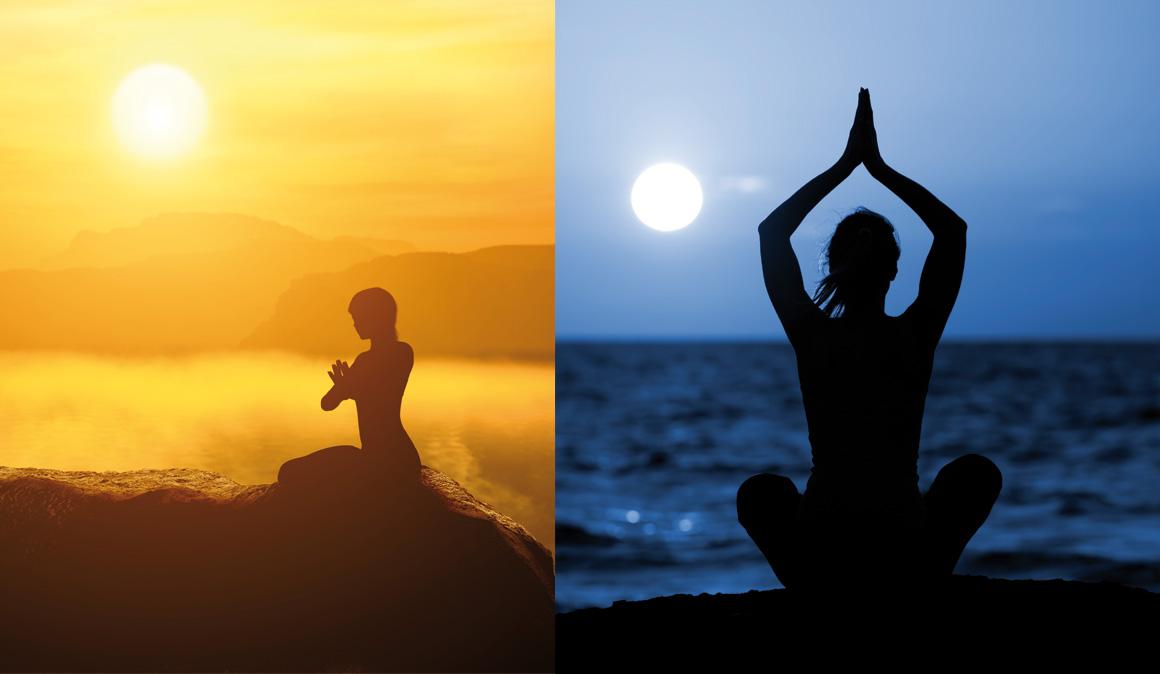 Saludo al Sol y a la Luna, una secuencia de yoga para potenciar músculos y relajarte