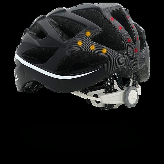 El casco con altavoces incorporados y con aviso de posición en caso de accidente
