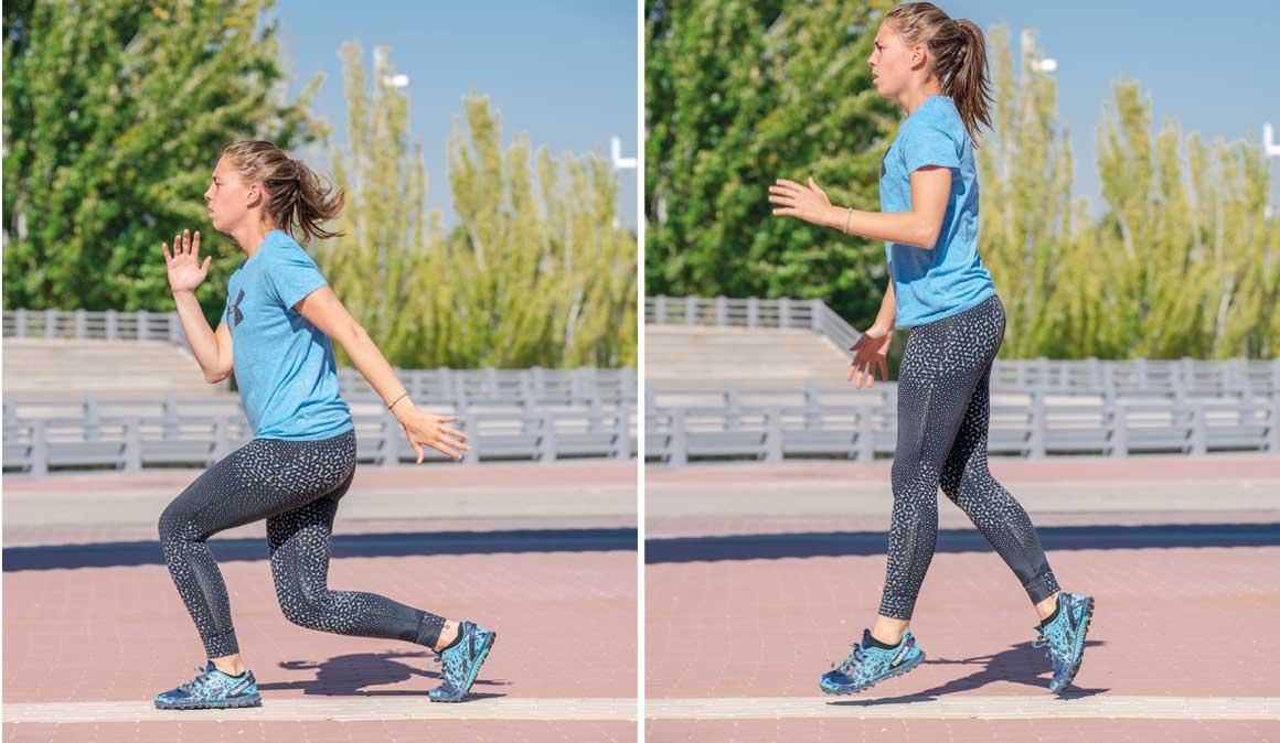 Entrenamiento fitness en pirámide invertida para fortalecer piernas y brazos