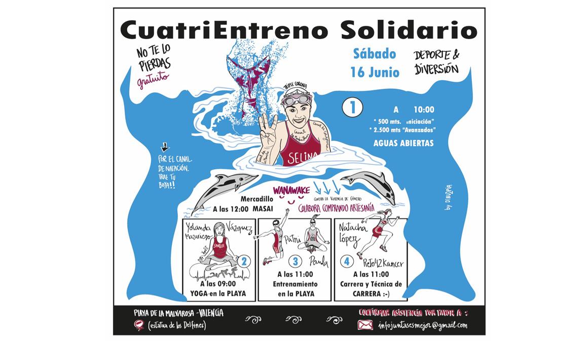 Cuatri Entreno Solidario en la playa de la Malvarrosa de Valencia