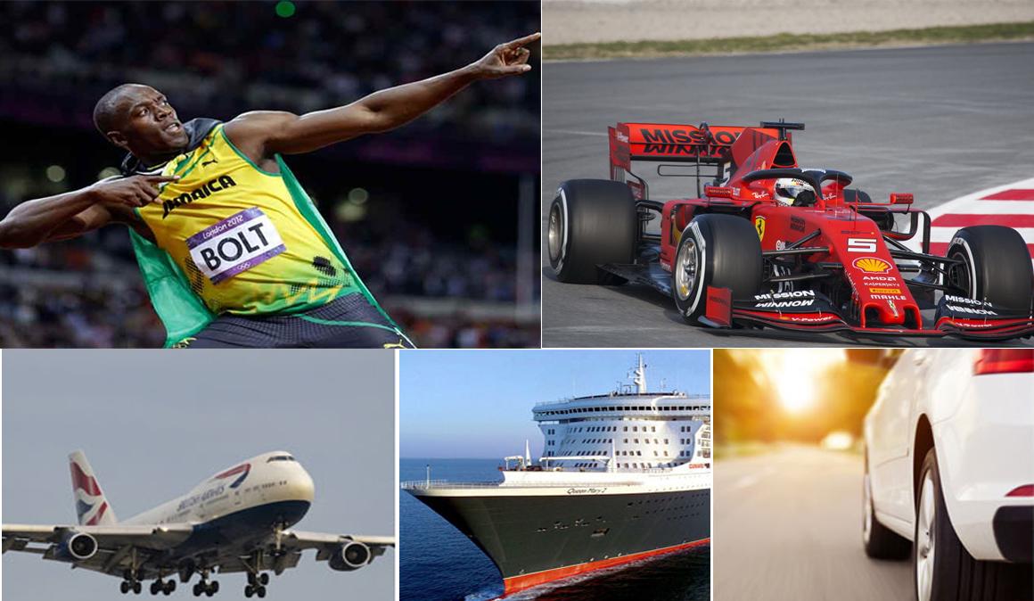 Usain Bolt Vs. Sebastian Vettel, un barco y un avión, ¿quién vencería en el circuito de Montmeló?