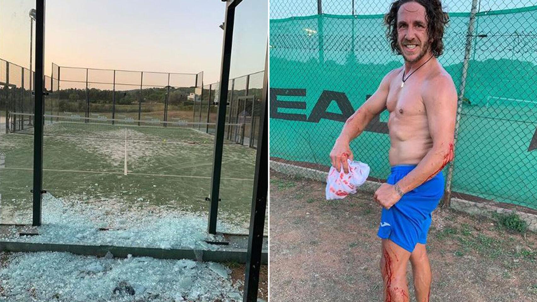 Puyol, herido en un brazo tras romperse el cristal de la pista de pádel