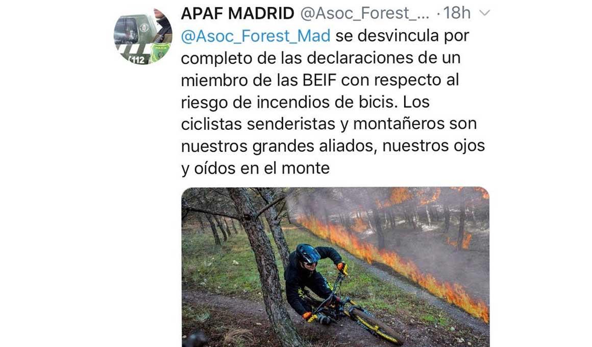 Los Agentes Forestales de Madrid rectifican: las bicis de montaña no causan incendios