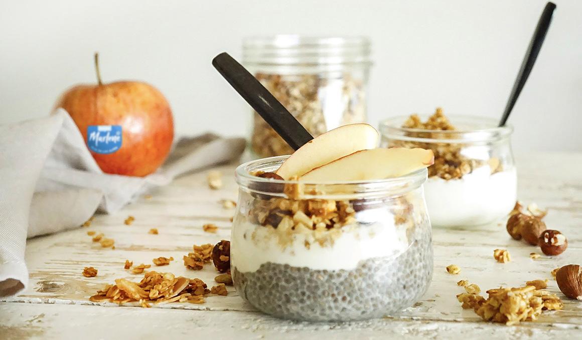 Receta de Granola de Manzana con Chía Pudding