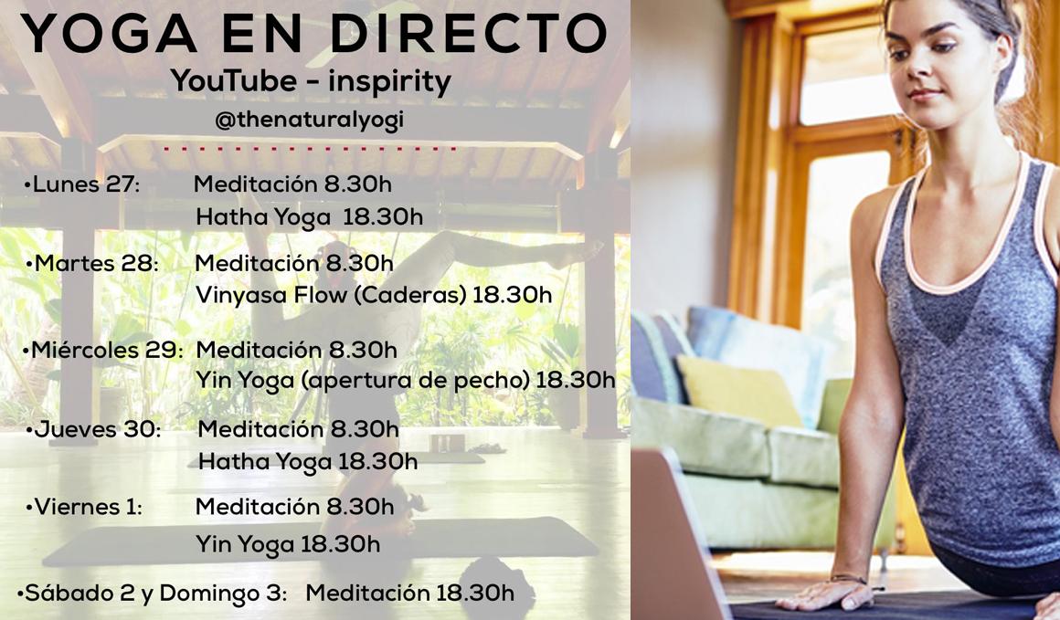 Prácticas de Yoga y Meditación gratuitas en Directo en el canal de youtube de Inspirity Life