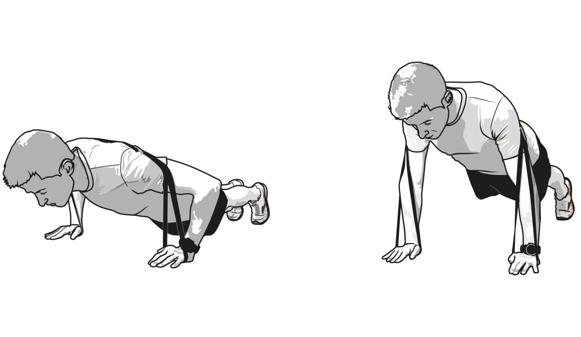 Flexiones con banda elástica