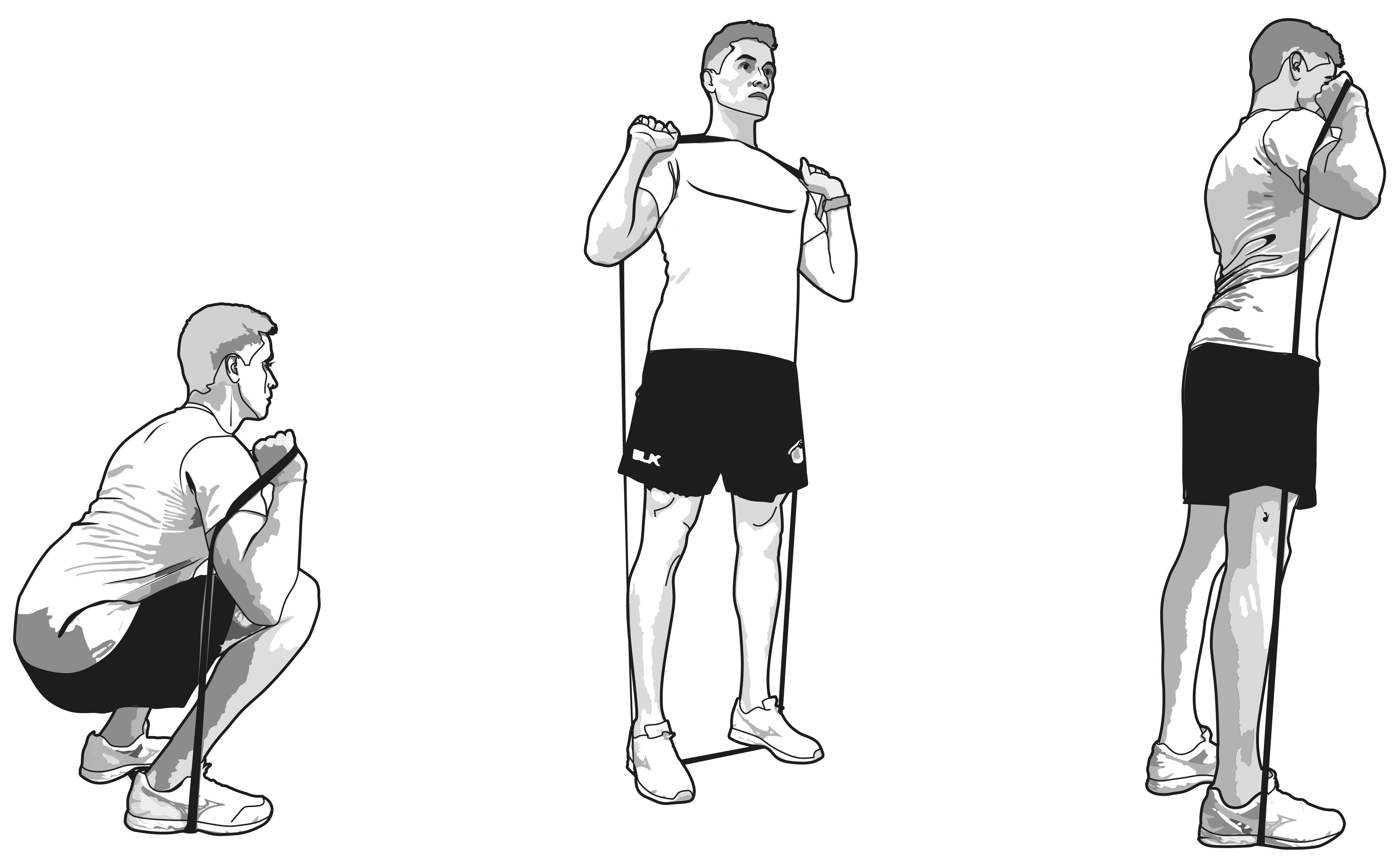 Front squat con banda elástica